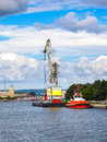 Floating cargo crane big in port of gdansk poland Stock Photos