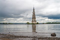 Floating church of st nicholas on the volga river flooded in th century Stock Image