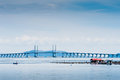 Floating fish cage and penang bridge view of salt water Stock Photography