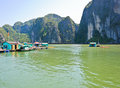 Floating fishing village Royalty Free Stock Images