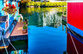 Floating Home Village Blue Red Houseboats Fisherman's Wharf Vict Royalty Free Stock Photo