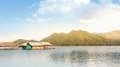 Floating house on the water with nature background at Chiangmai