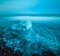 Floating icebergs in jokulsarlon glacier lagoon iceland blue Royalty Free Stock Photo