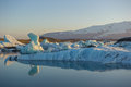 Floating icebergs in jokulsarlon glacier lagoon iceland blue Royalty Free Stock Image