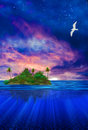 Floating island with bird and stars Royalty Free Stock Images