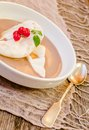 Floating island dessert close up of Stock Images