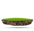 Floating island of green grass field on rock land use for abstract background backdrop Royalty Free Stock Photo