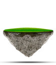 Floating island of green grass field on rock land use for abstract background backdrop file Royalty Free Stock Images