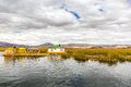 Floating islands on lake titicaca puno peru south america dense root that plants khili interweave form natural layer about one to Stock Image