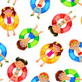Floating kids pattern seamless with on inflatable rings Stock Photography