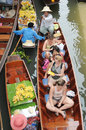 Floating market damnoen saduak thailand boats loaded with fruits and vegetables in ratchaburi Stock Images