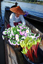 Floating market in inle lake myanmar february local people vendor sell flower on boat going through a water canal the on the Stock Photography