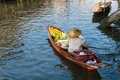 Floating market seller woman in the boat at thailand Royalty Free Stock Photo