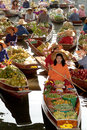 Floating market in thailand ratchaburi jan local peoples sell fruits food and products at damnoen saduak on jan ratchaburi Royalty Free Stock Images