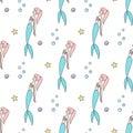 Floating mermaids seamless vector pattern