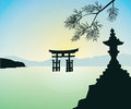 The floating otorii gate at miyajima with tree Stock Photo