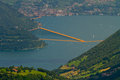 The floating piers christo iseo lake brescia Stock Images