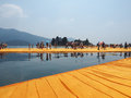 The floating piers in lake iseo italy circa june site specific landscape artwork by christo and jeanne claude Stock Images