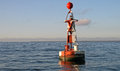 Floating red and white buoy Stock Images