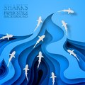 Floating sharks, paper style. Body wave, with shadows. Marine life, wildlife, predators went hunting. Royalty Free Stock Photo