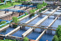 Floating surface aerators tanks on sewage treatment plant Royalty Free Stock Photos