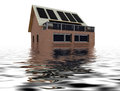 Floating sustainable house with solar pannels Stock Photos