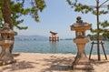 Floating torii gate of Itsukushima Shrine, Japan. UNESCO site Royalty Free Stock Photo