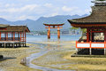 Floating torii gate in Itsukushima Shrine Royalty Free Stock Photo