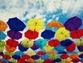 The floating umbrellas Royalty Free Stock Photo
