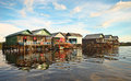 Floating village at cambodia colorful Royalty Free Stock Images