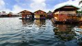 Floating village on the river kwai thailand raft houses kanchanaburi Stock Images