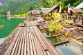 Floating wood house at Ratchaprapha dam Royalty Free Stock Photography
