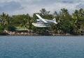 Floatplane landing in tropical Fiji Royalty Free Stock Photo