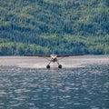 Floatplane landing on water Royalty Free Stock Photo
