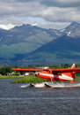 Floatplane rouge Photographie stock libre de droits