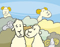 Flock of sheep cartoon illustration comic characters group Stock Photo
