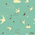 Flock of swallows siamless pattern with silhouette birds Stock Images