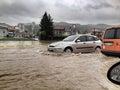 Flood in bosnia and herzegovina river bosna Stock Photography
