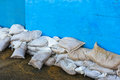 Flood defences sand bags used as in whitstable during a storm and high tide on th december Stock Photos