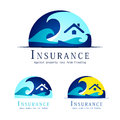 Flood insurance logo in three colour variants Stock Photo