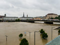 Flood linz austria of overflows and flooding Royalty Free Stock Photos