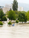 Flood linz austria of overflows and flooding Royalty Free Stock Images