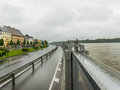 Flood mauthausen austria of mobile protection embankment Stock Photos