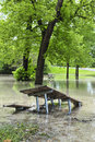 Flood in park picnic area of sunnybrook toronto flooded after heavy rains Royalty Free Stock Image