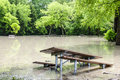 Flood in park picnic area of sunnybrook toronto flooded after heavy rains Stock Images