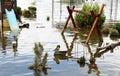 Flood on playground Stock Images