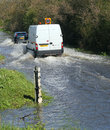 Flood on roads, UK Royalty Free Stock Photo