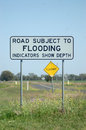 Flood sign flooding darling downs queensland australia Royalty Free Stock Photo