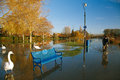 Flood in UK, river Thames in Reading Royalty Free Stock Images