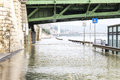 Flood under the freedom bridge danube in budapest Royalty Free Stock Photography